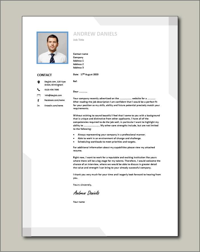 Premium template 63 - Cover letter