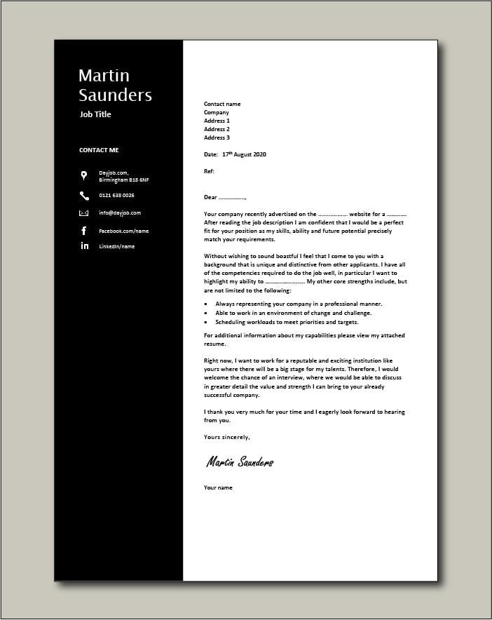 Premium template 71 - Cover letter