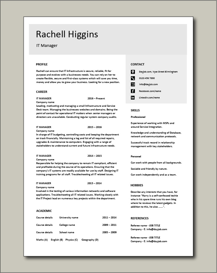 Free IT Manager CV template 4
