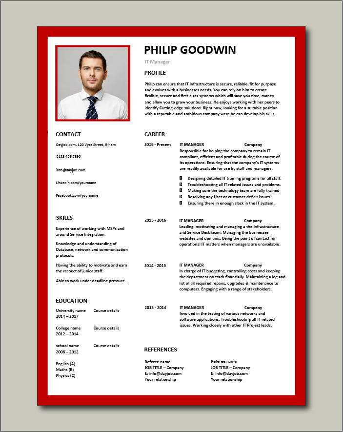 Free IT Manager CV template 6