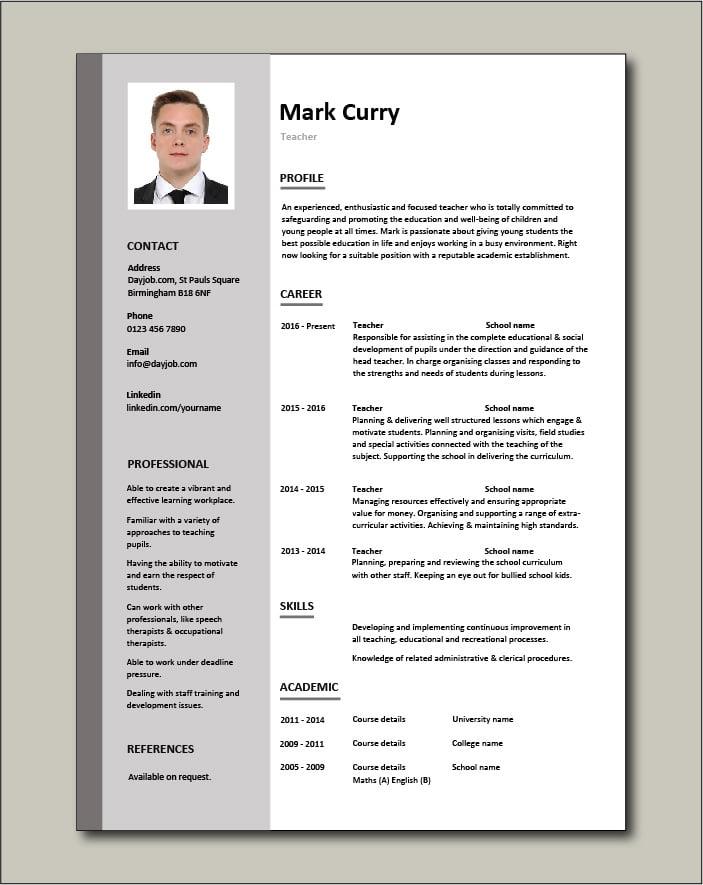 Free Teacher CV template 1