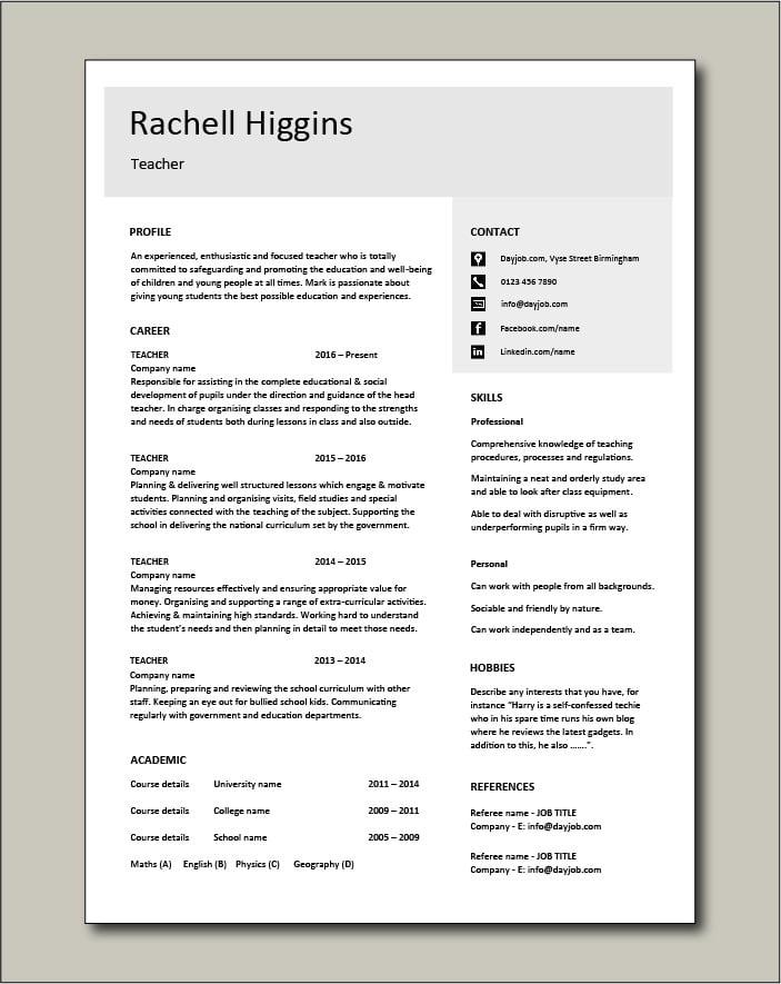 Free Teacher CV template 4