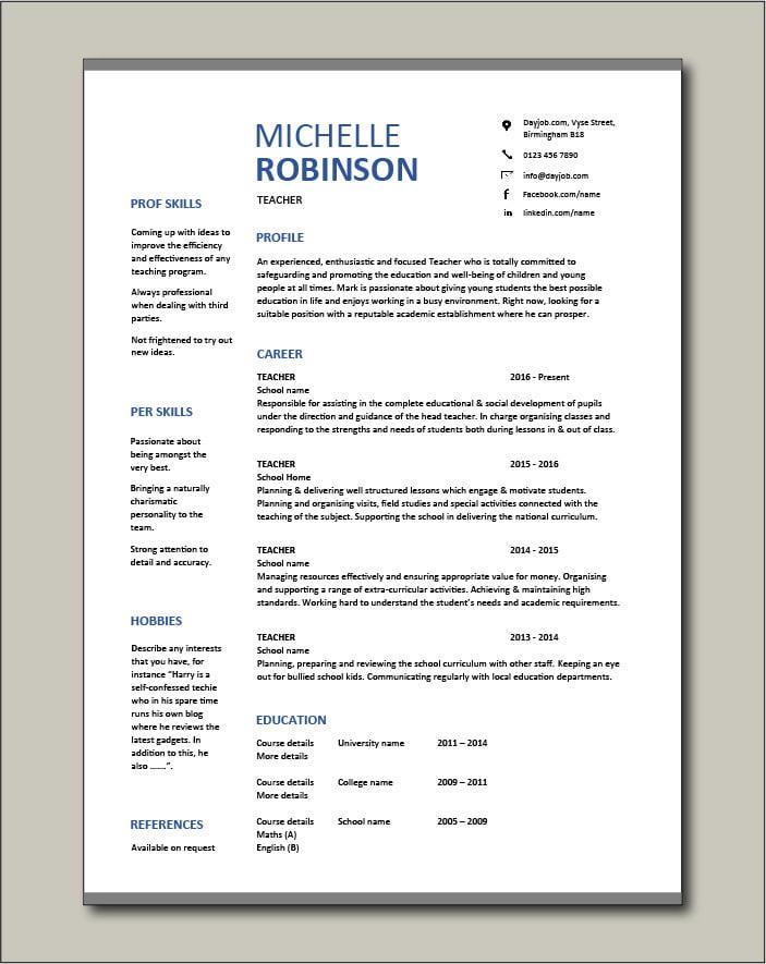 Free Teacher CV template 8