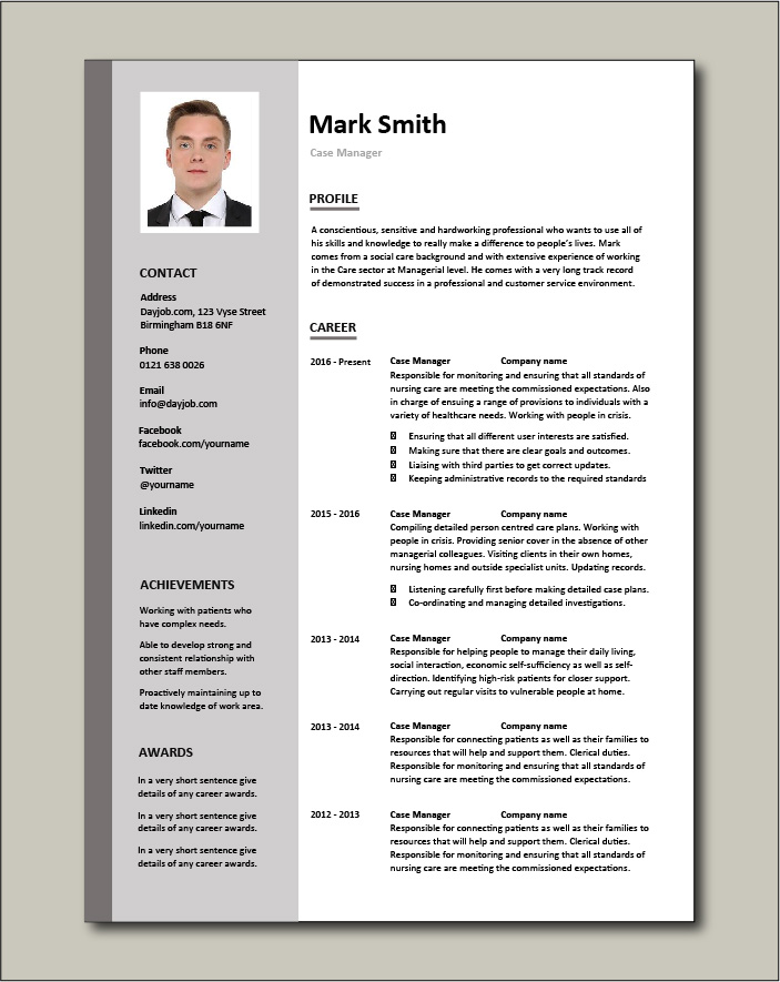 Case Manager resume - 2 page