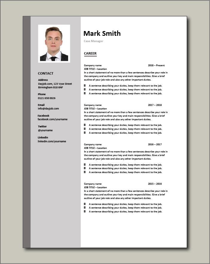 Case Manager resume - Career