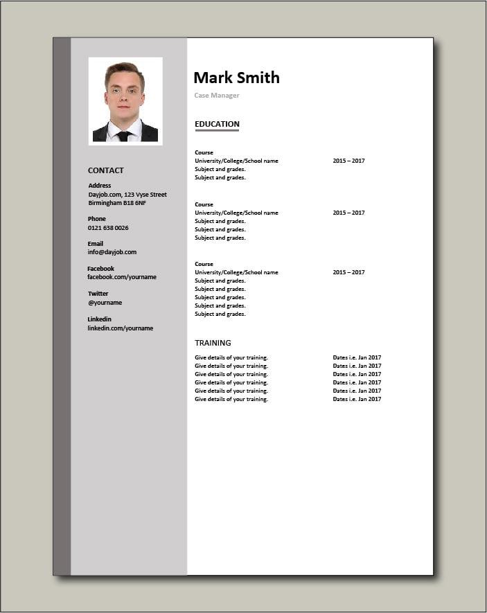 Case Manager resume - Education