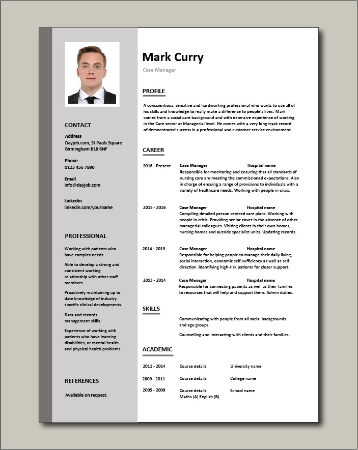 Free Case Manager resume template 1