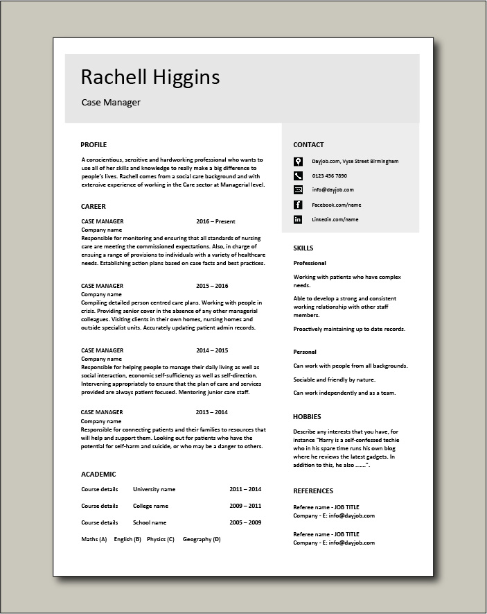 Free Case Manager resume template 4