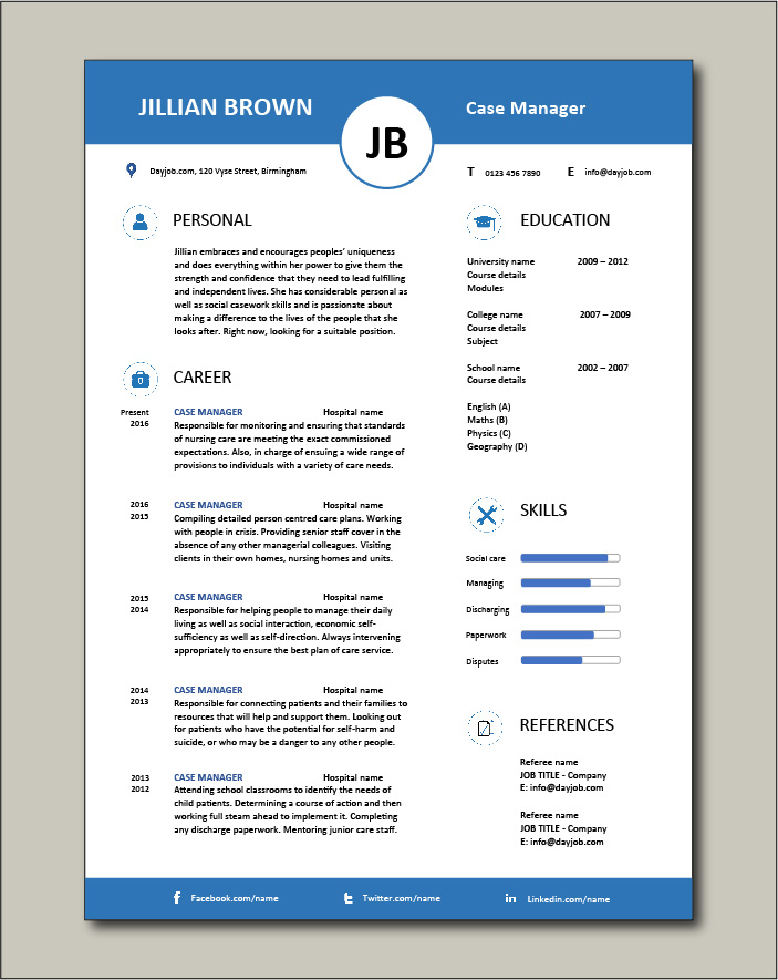 Free Case Manager resume template 5