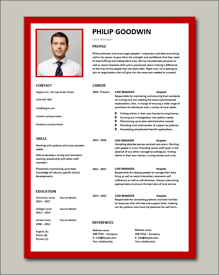 Free Case Manager resume template 6