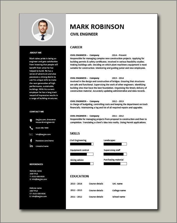 Free Civil Engineer resume template 3