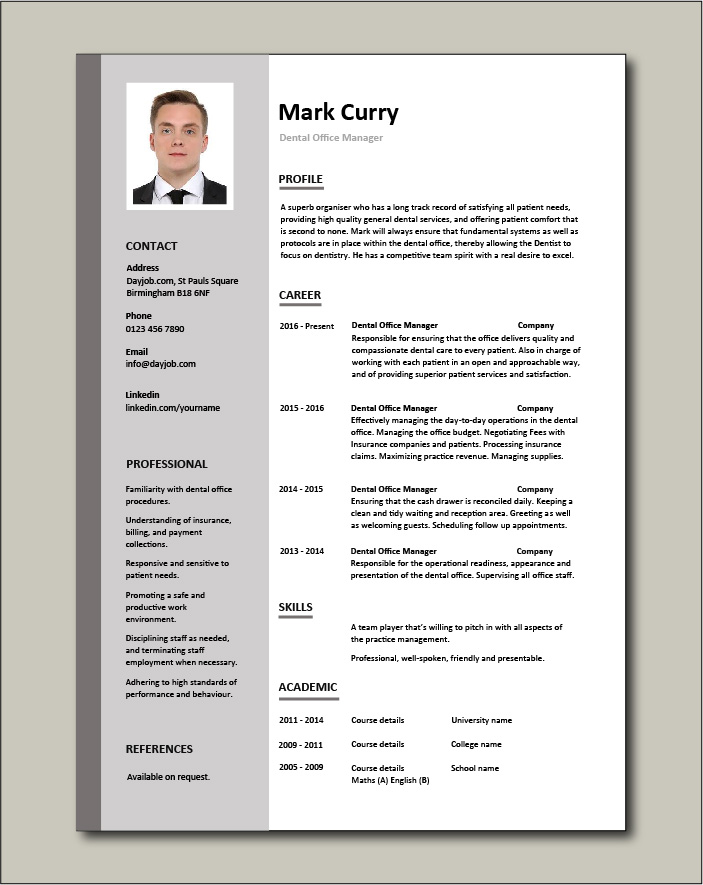 Free Dental Office Manager resume template 1