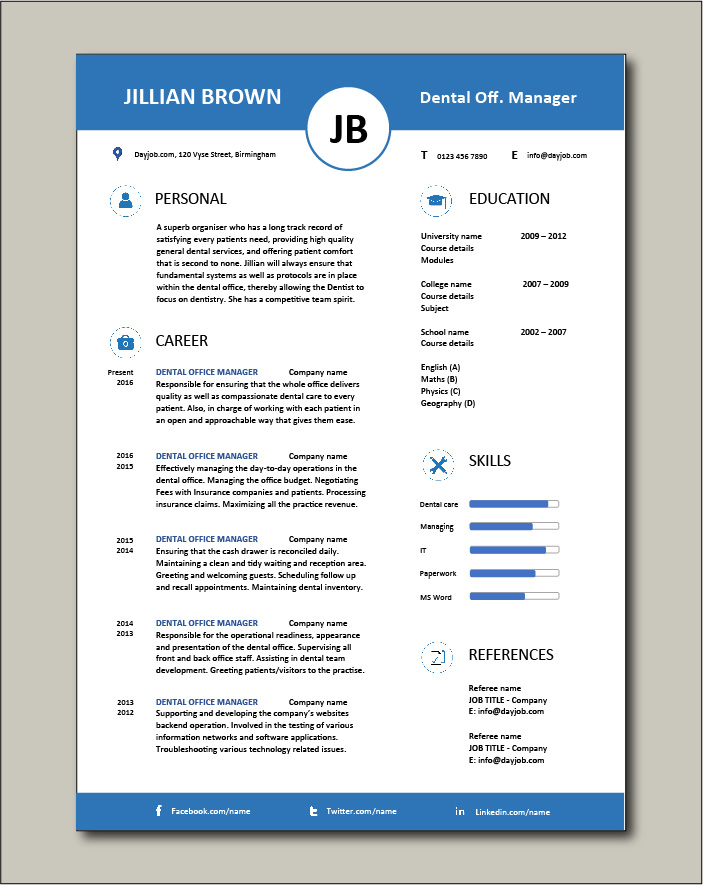 Free Dental Office Manager resume template 5