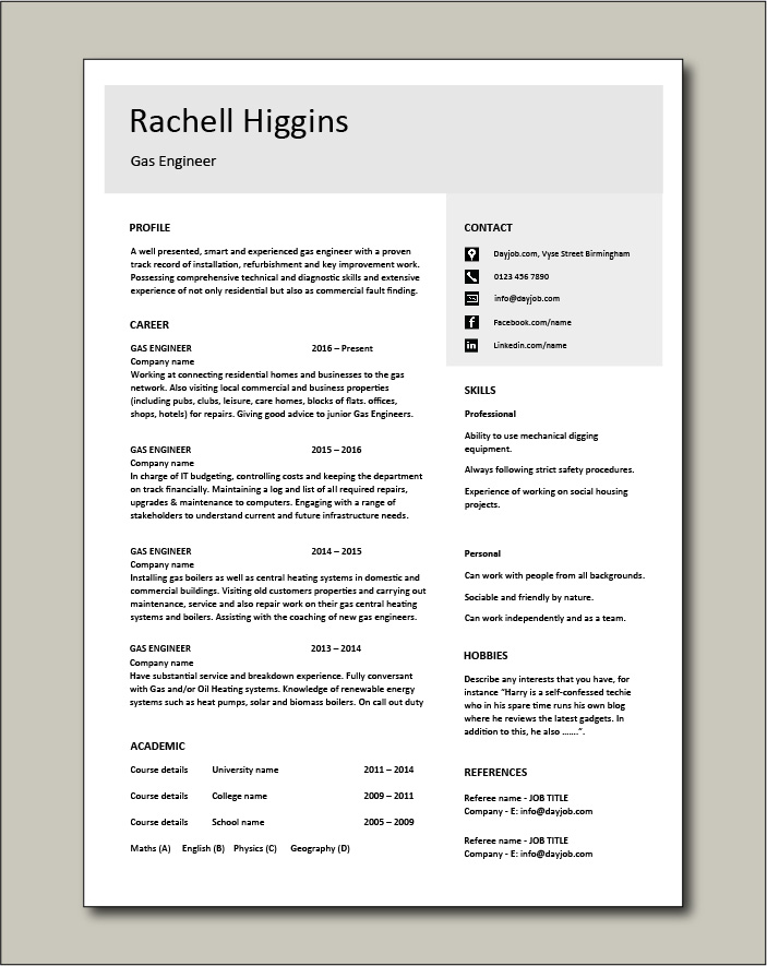 Free Gas Engineer CV template 4
