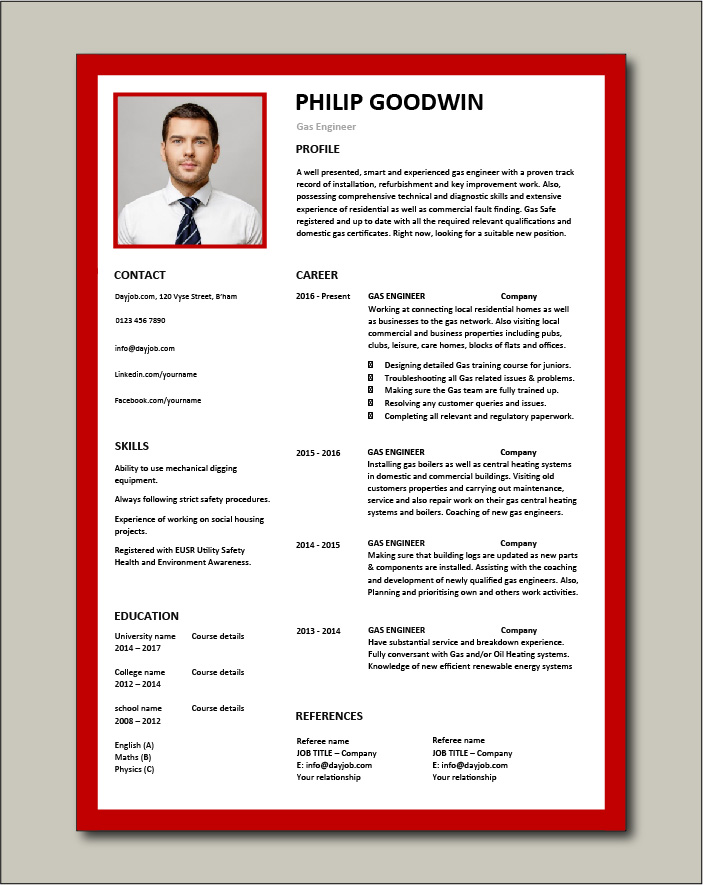 Free Gas Engineer CV template 6