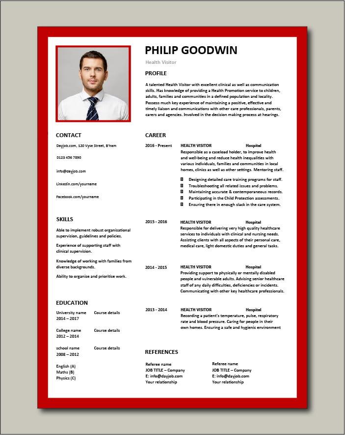 Free Health Visitor CV template 6