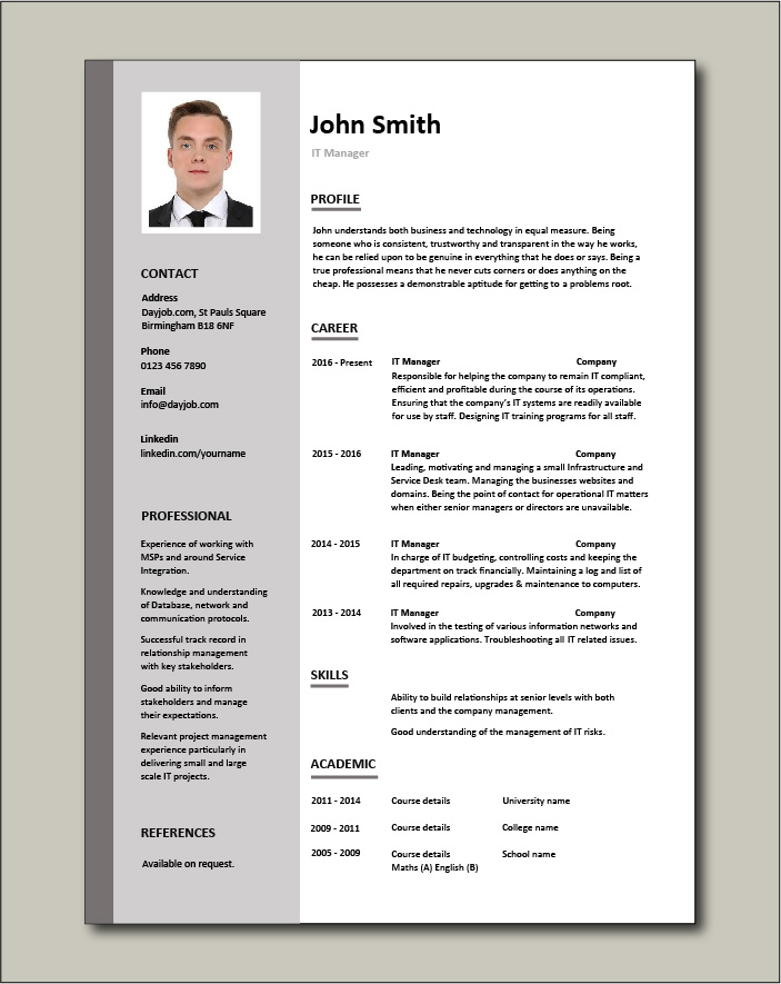 Free IT Manager resume template 1