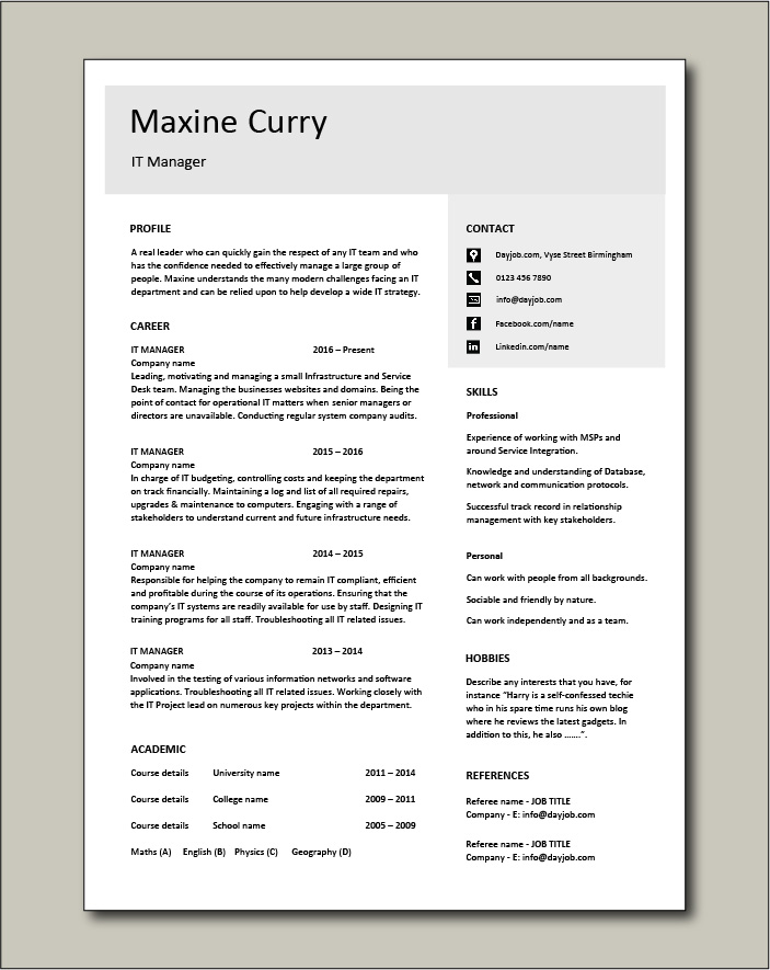 Free IT Manager resume template 4