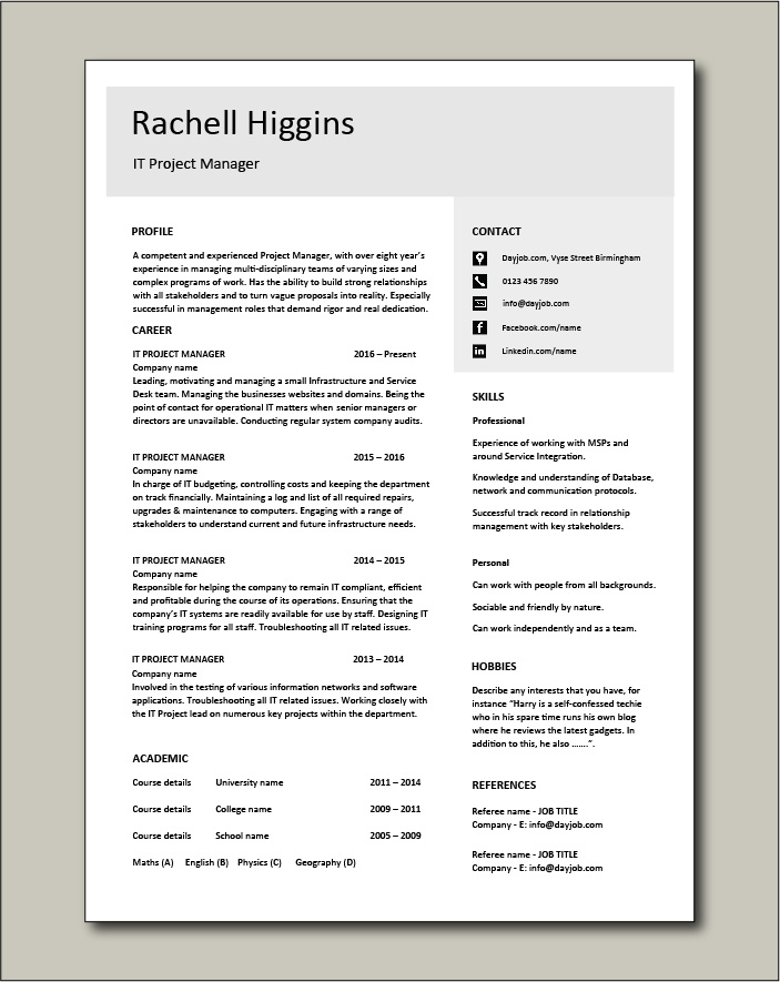 Free IT Project Manager CV template 4