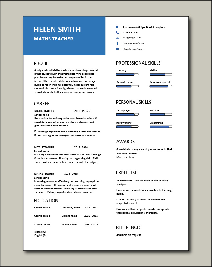 Free Maths Teacher CV template 7