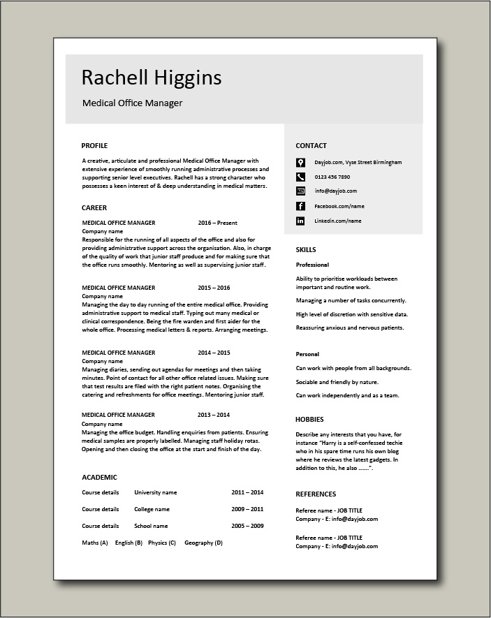 Free Medical Office Manager resume template 4