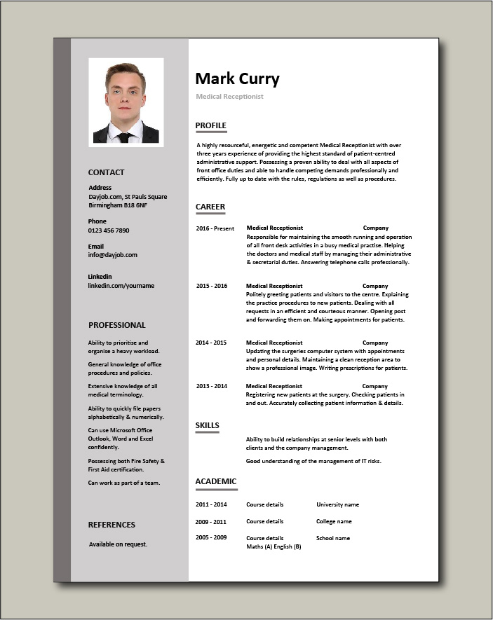 Free Medical Receptionist CV template 1