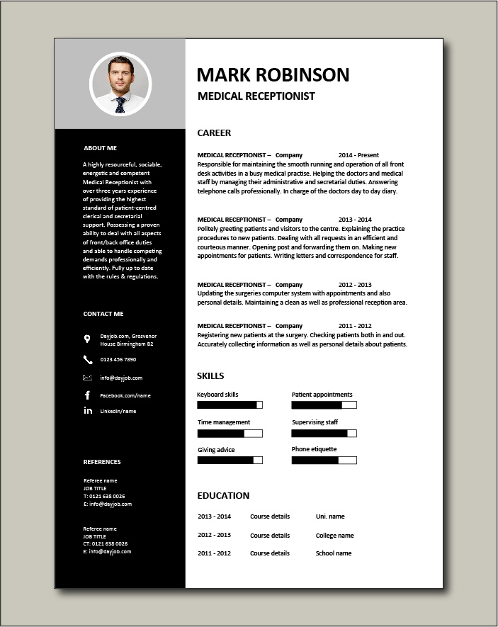Free Medical Receptionist CV template 3