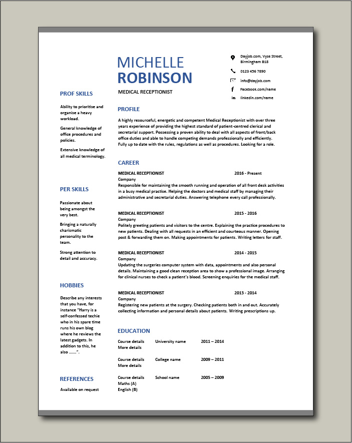 Free Medical Receptionist CV template 8