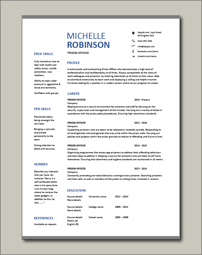 Free Prison Officer CV template 8