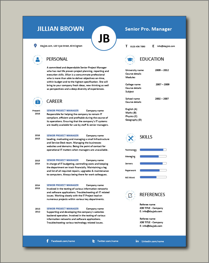 Free Senior Project Manager resume template 5