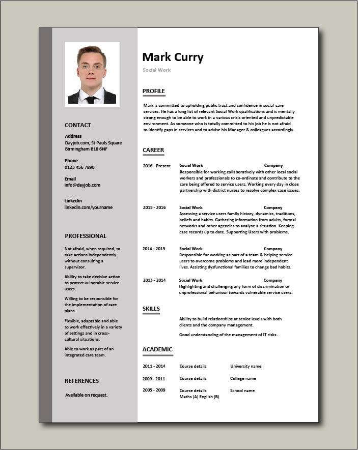 Free Social Work CV template 1