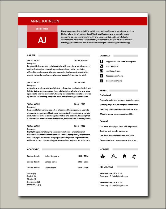 Free Social Work CV template 2