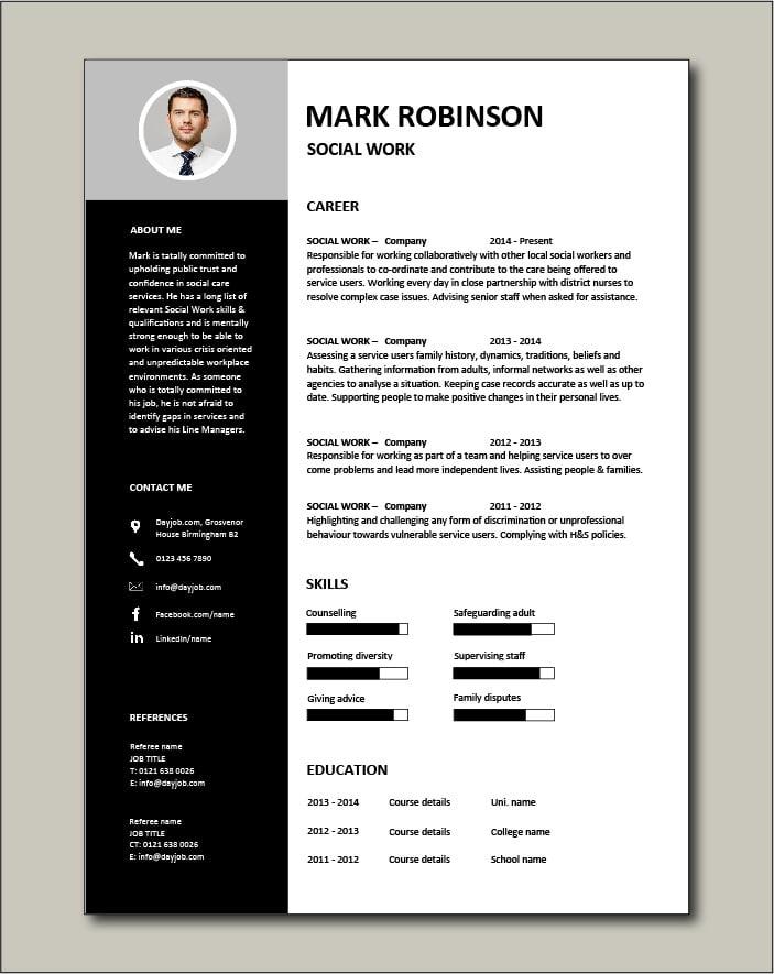 Free Social Work CV template 3