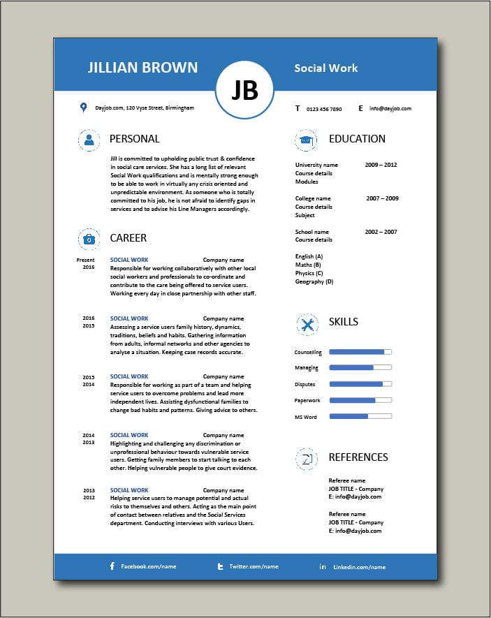 Free Social Work CV template 5