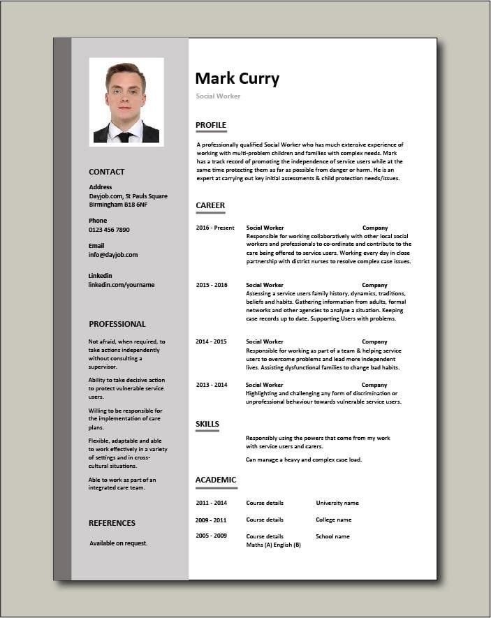 Free Social Worker resume template 1