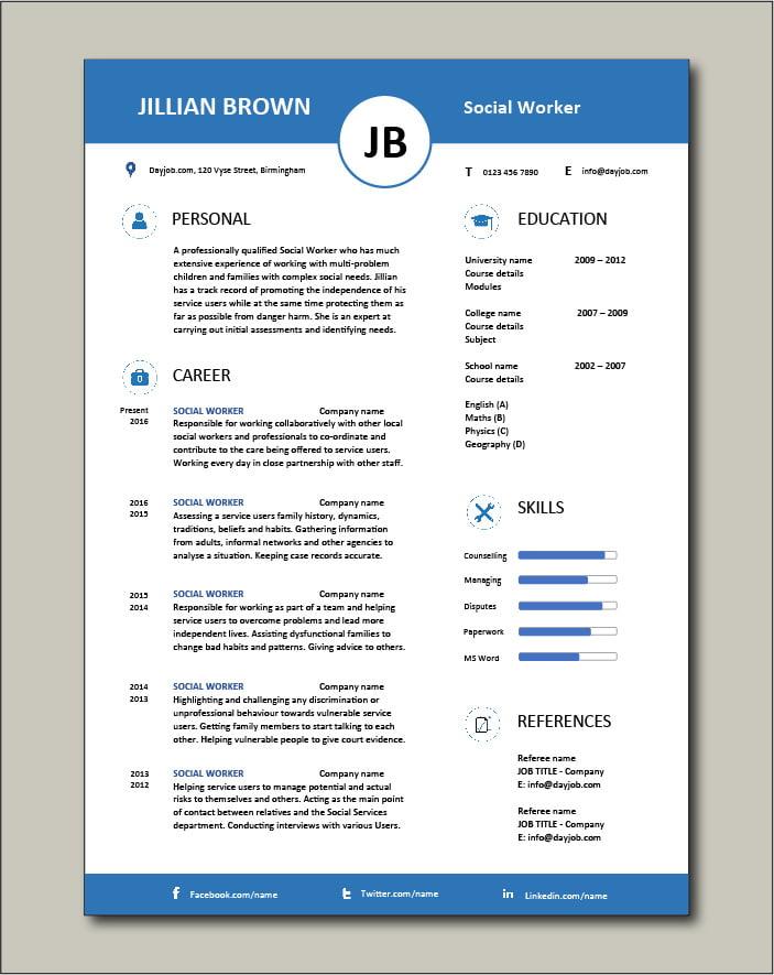 Free Social Worker resume template 5