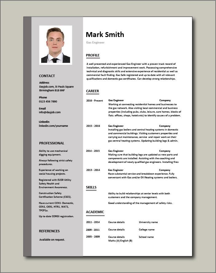 Gas Engineer CV - 1 page
