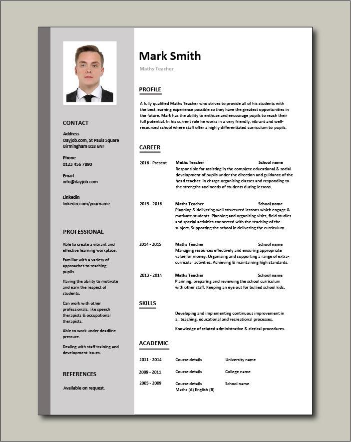Maths Teacher CV - 1 page