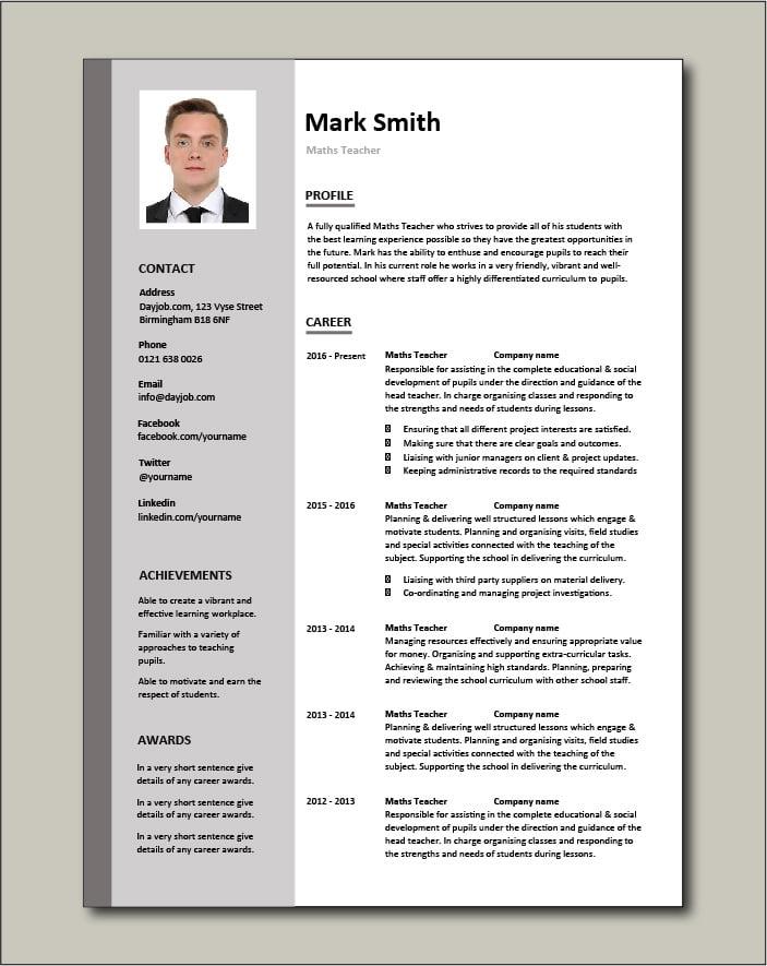 Maths Teacher CV - 2 page
