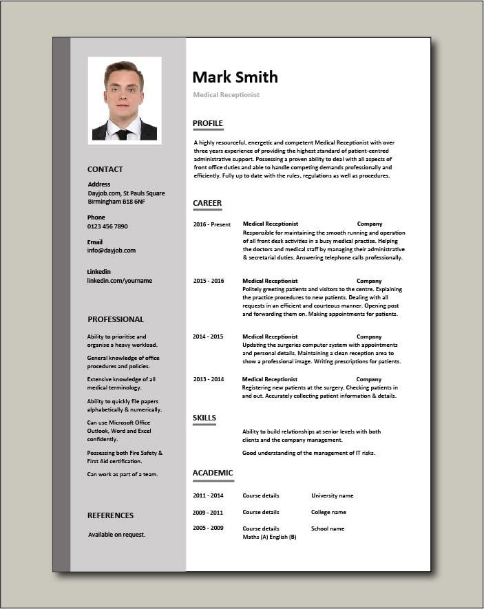 Medical Receptionist CV - 1 page
