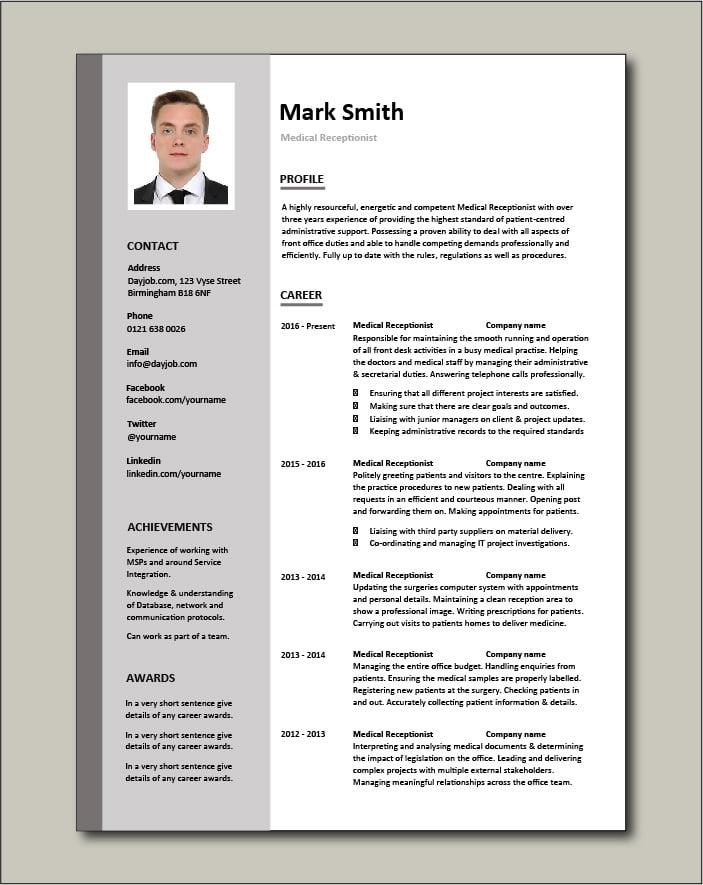 Medical Receptionist CV - 2 page