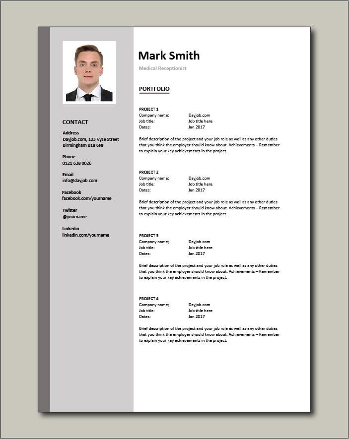 Medical Receptionist CV - Portfolio