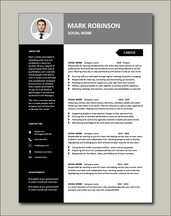 Social Work CV template 3 - 2 pages