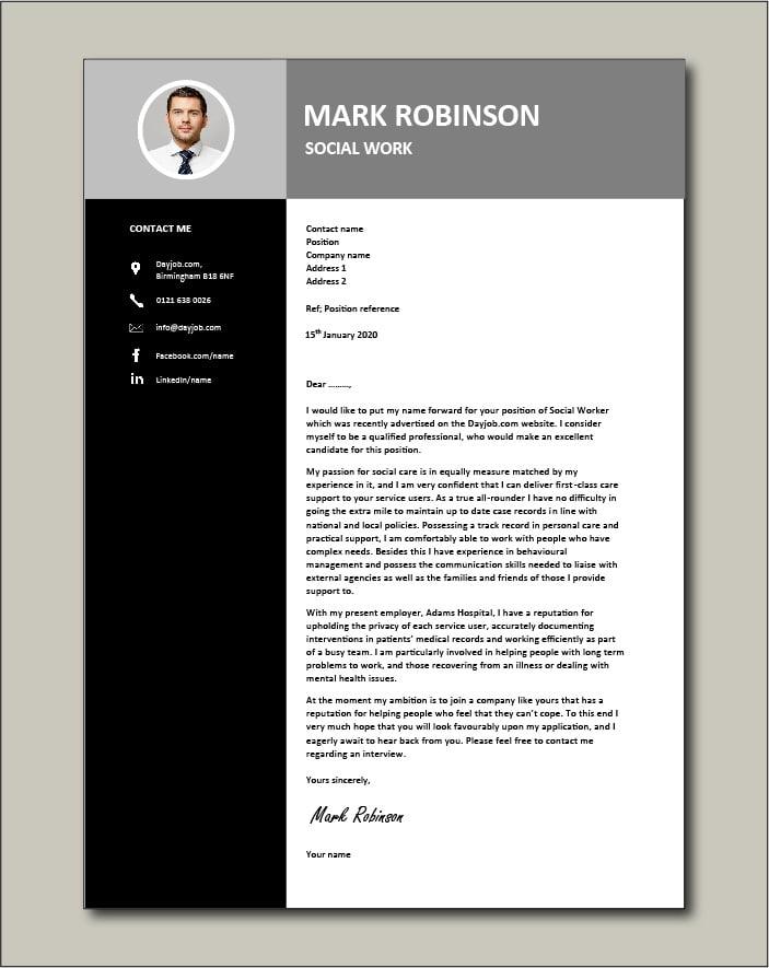 Social Work CV template 3 - Cover letter