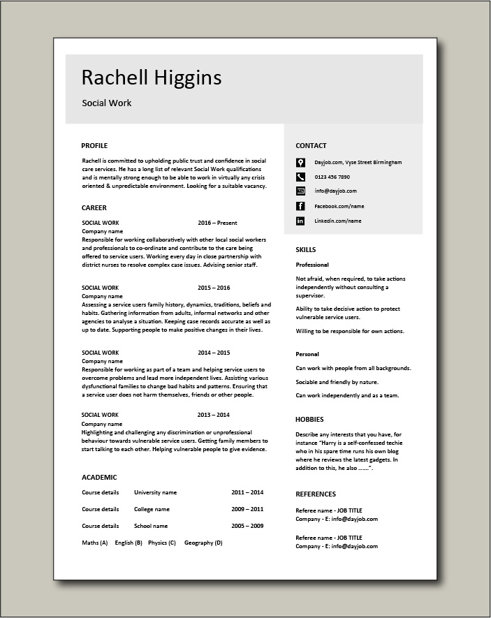 Social Work CV template 4 - 1 page