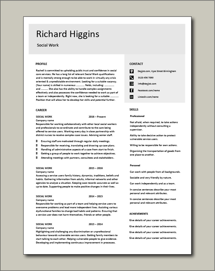 Social Work CV template 4 - 2 page
