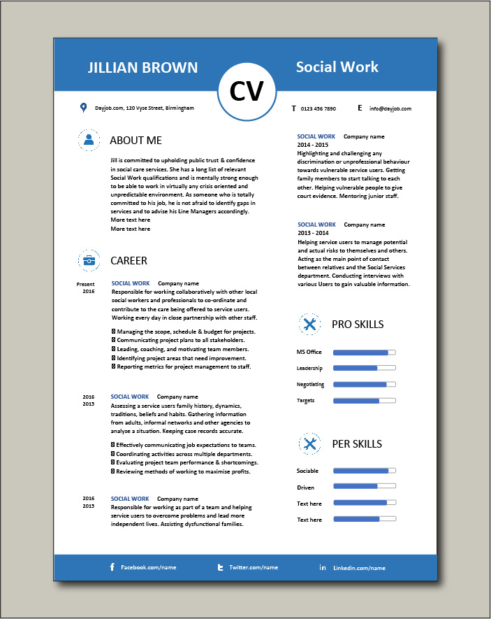 Social Work CV template 5 - 2 pages