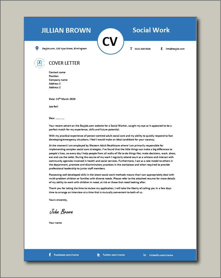 Social Work CV template 5 - Cover letter
