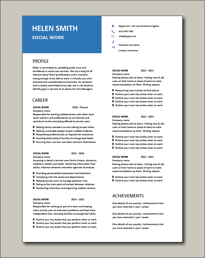 Social Work CV template 7 - 2 page