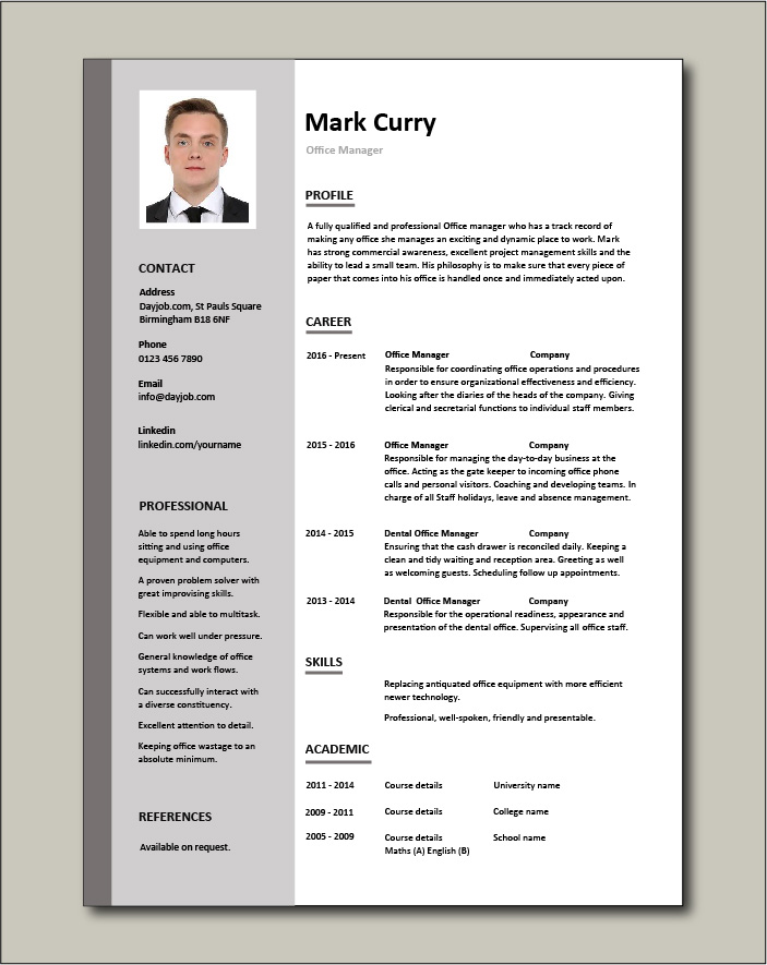 Free Office Manager CV template 1